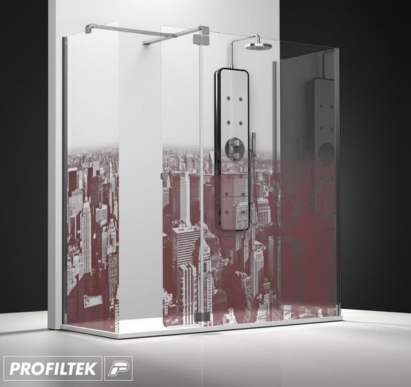 Mampara de baño Profiltek walk-in serie Belus modelo BS-241 decoración Cosmopolita