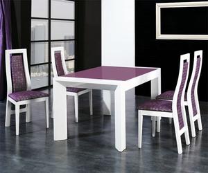 Mesa y sillas bicolores