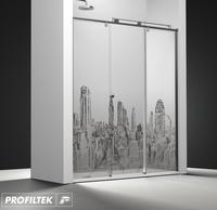 Mampara de baño Profiltek serie Steel ST-211 Light decoración cosmopolita