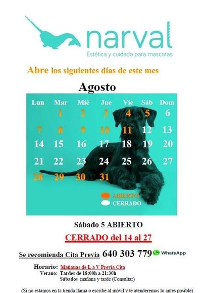 Narval Mascotas peluquería canina Leganes | CALENDARIO AGOSTO 17|default:seo.title }}