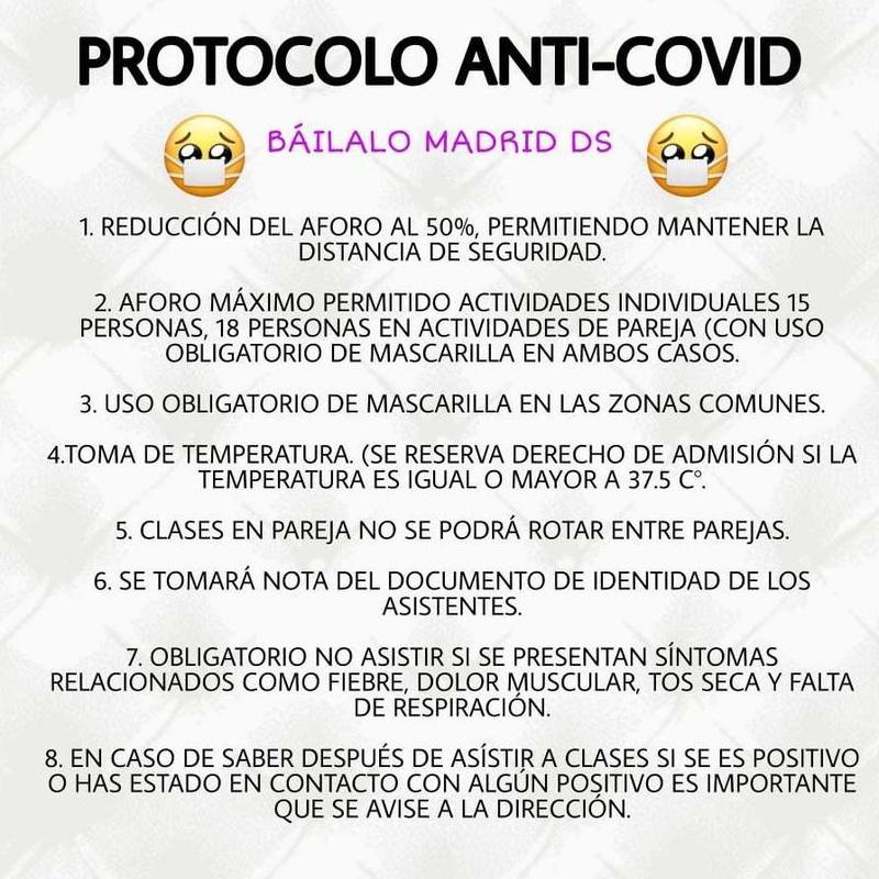 PROTOCOLO DE HIGIENE Y SEGURIDAD: Clases de Baile Online de Báilalo Madrid