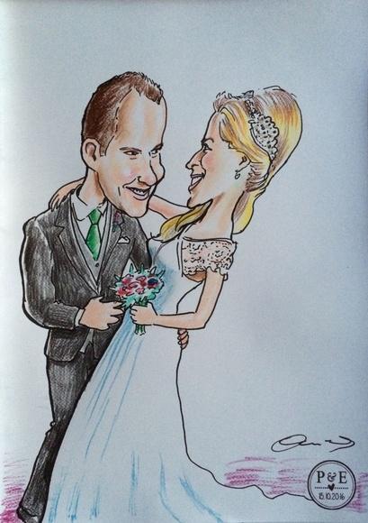 Caricatura rápida con colores, en una boda