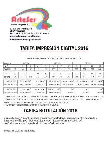 Tarifa impresión digital y rotulación: Catálogo de Arteser Serigrafía