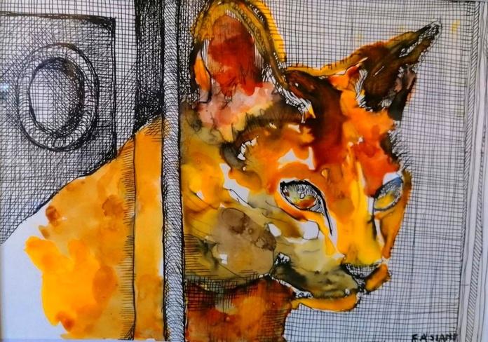 Gato. acuarela y tinta/papel. 16x22cm. 100€.