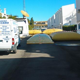 Deposito para almacenar agua de piscinas