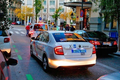 Blue license plate on taxis as a measure against intrusion.