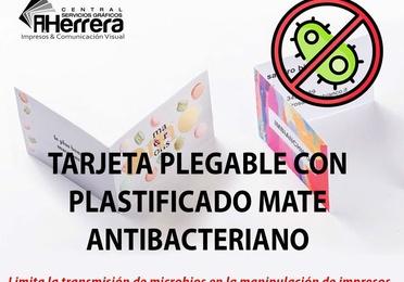 Tarjeta plegable plastificado antibacteriano mate