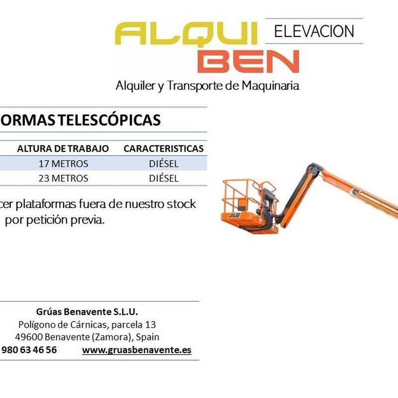 Plataformas Elevadoras Diésel y/o Eléctricas: servicios de Grúas Benavente