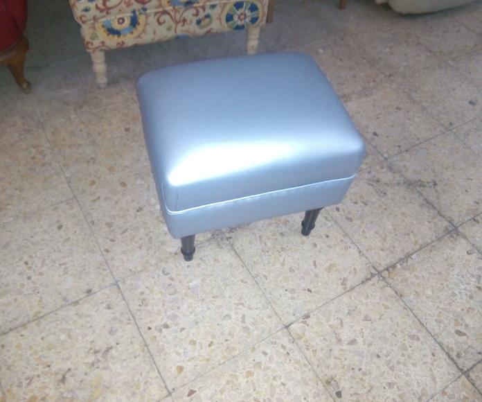 retapizado puf gris plata