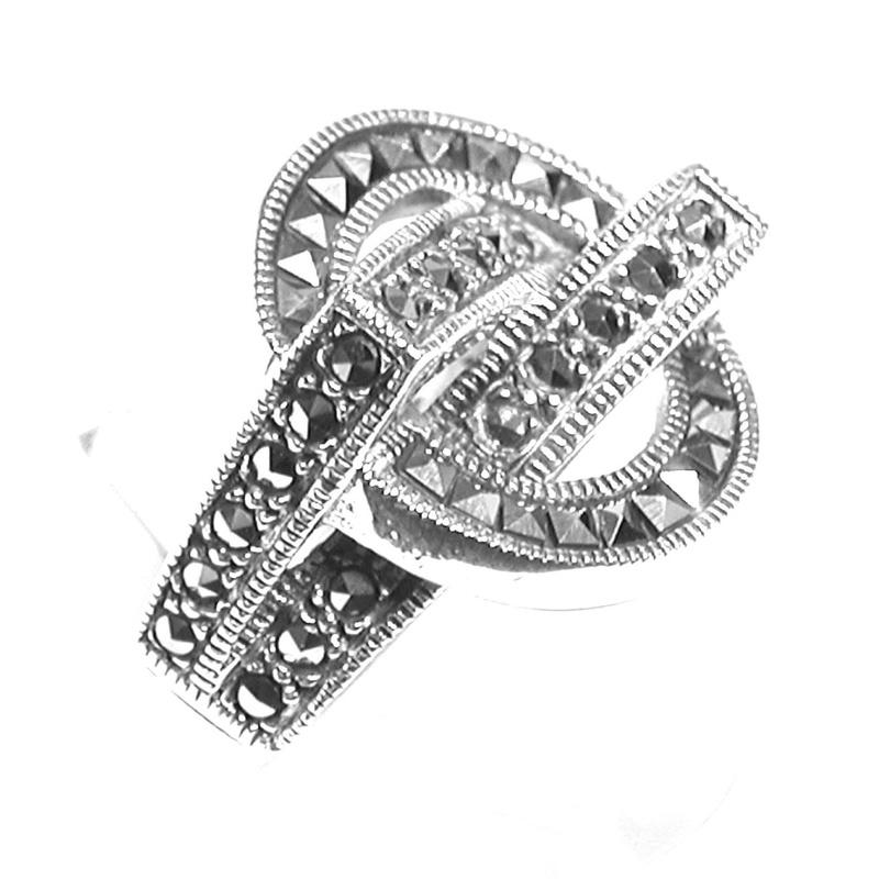 Sortija Redonda  de Plata de 1º Ley y marcasitas Ref. ES-850/00: Catálogo de Antigua Joyeros