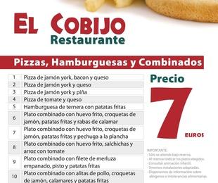 Platos combinados, pizzas y hamburguesas