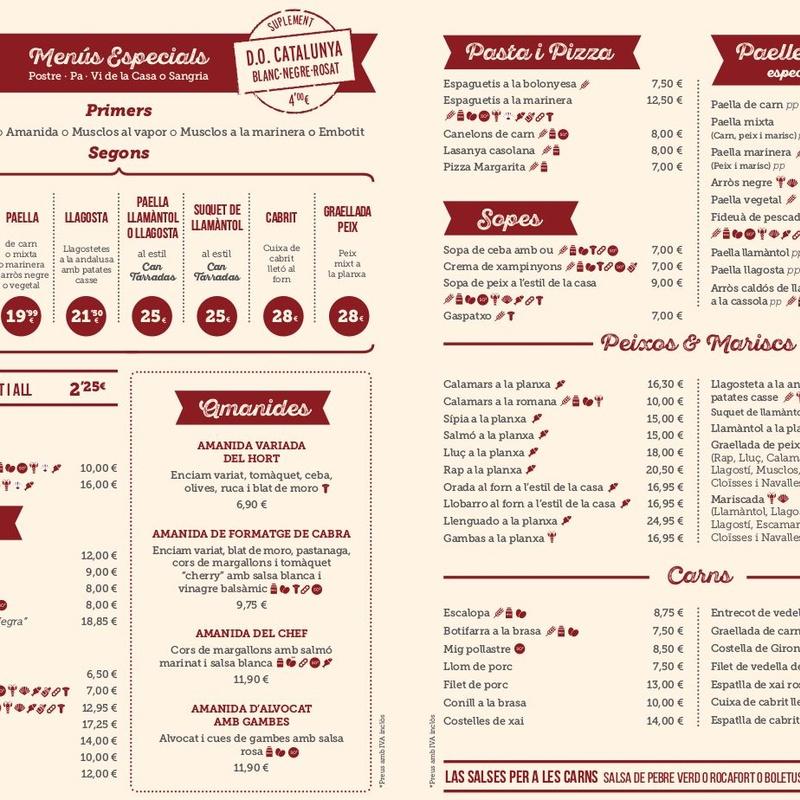 Carta menús especiales en catalán: Carta y Menús de Cantarradas