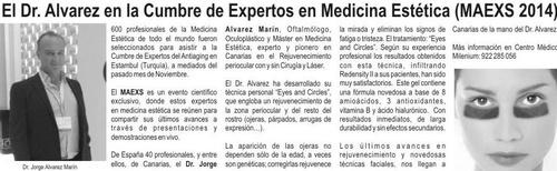 """Dr. Jorge Alvarez Marin, pionero en Canarias tecnica """" Eyes and circles"""" tratamiento para las Ojeras."""