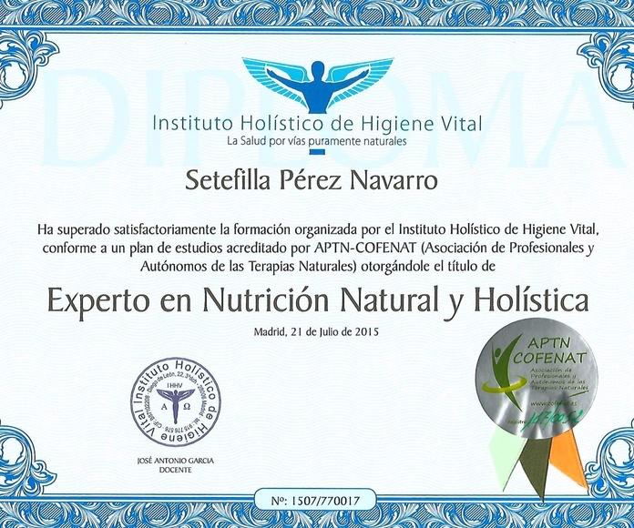 Título de Experta en Nutrición Natural Holistica.