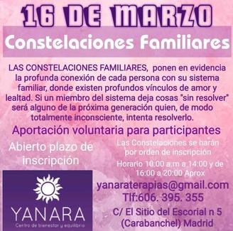 PRÓXIMO 16 DE MARZO VUELVEN LAS CONSTELACIONES FAMILIARES