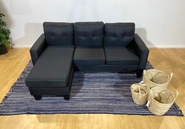 Sofá chaise longue negro