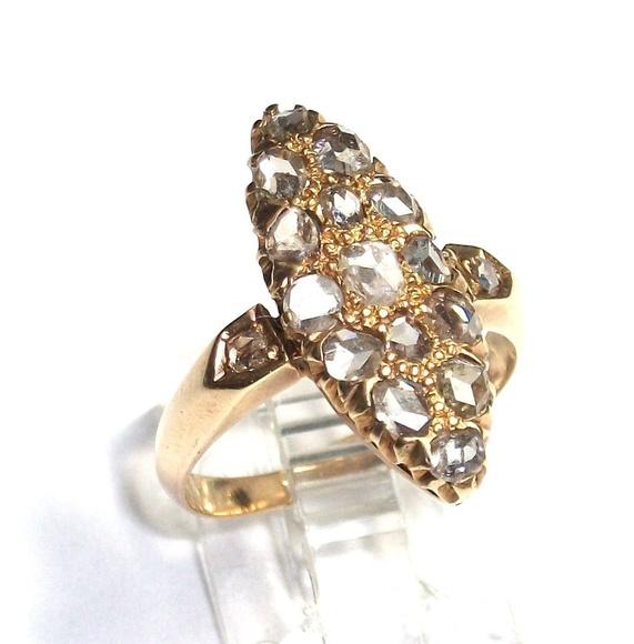 Sortija lanzadera de oro de 18k con diamantes. Último tercio s. XIX: Catálogo de Antigua Joyeros