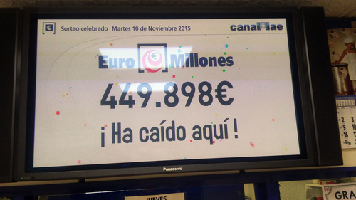 Premio de Euromillones caído aquí