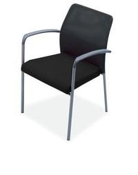sillon fijo con brazos en malla negra y estructura gris