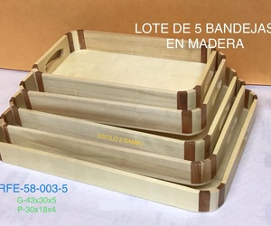 SET 5 BANDEJAS NATURAL G43X30X5