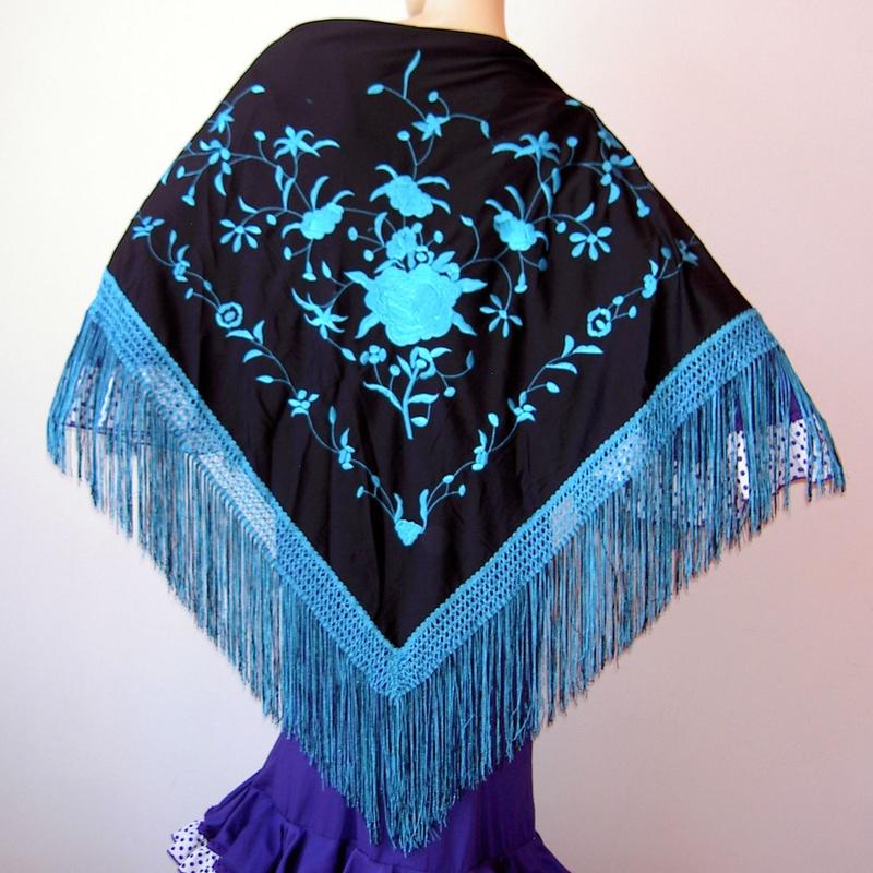 Mantón mediano negro-turquesa 2fleco