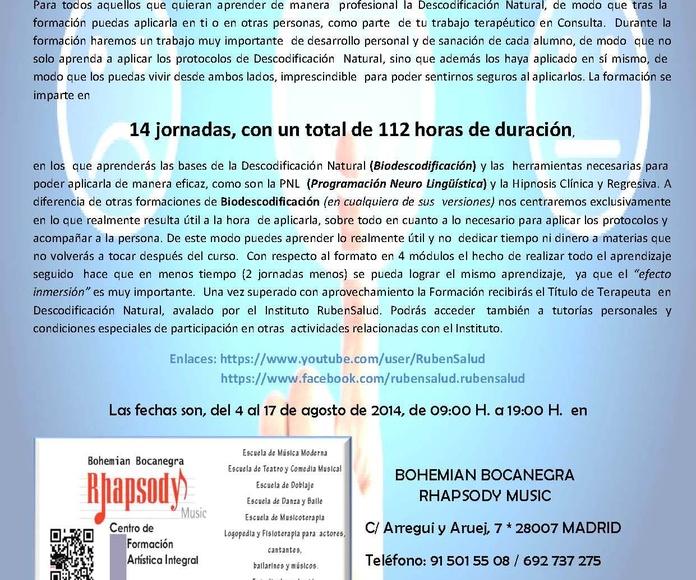Formación de Terapeutas en Descodificación Natural (Biodescodificación) FORMATO INTENSIVO en MADRID