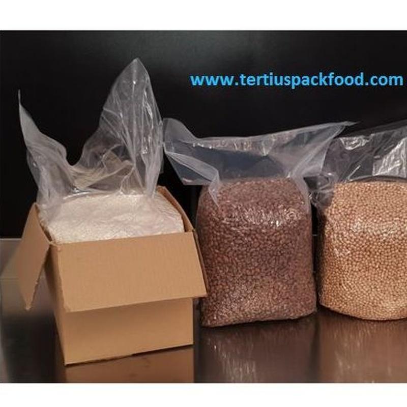 Envasado vació de alimentos ecológicos a granel con/sin atmósfera modificada. Con embalaje de protección en caja