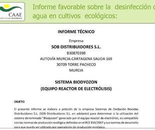 CAAE - informe favorable sobre el uso de Biodyozon en agricultura ecológica