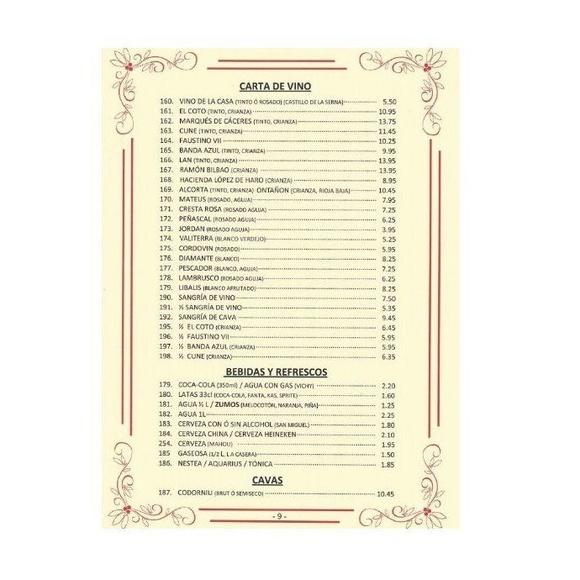 Carta de bebidas : NUESTRA CARTA  de La Grulla de Oro