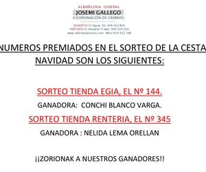 GANADORES SORTEO CESTA DE NAVIDAD