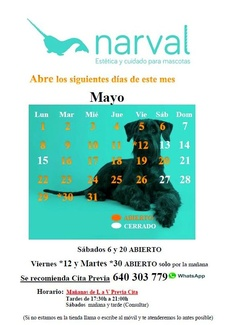 CALENDARIO MAYO 17  narval peluquería canina leganes