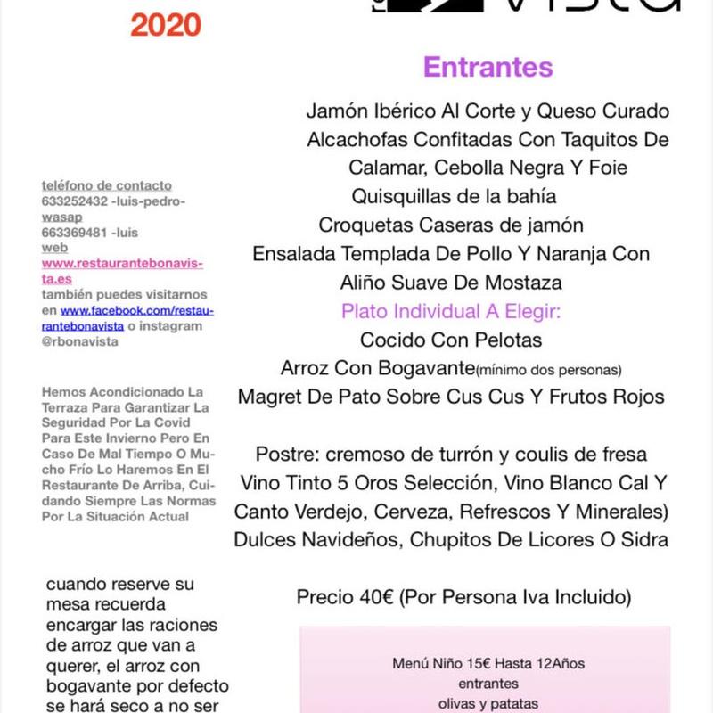 Menú de Navidad 2020 : Carta, Menús y Bodega de Restaurante Bonavista (Club de Campo Elche)