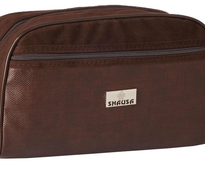Bolsa de aseo hombre marrón con bolsillo y asa