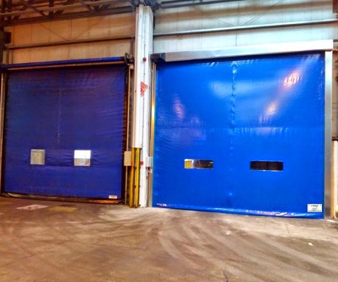 Puertas rápidas enrollables autorreparables con contrapesos