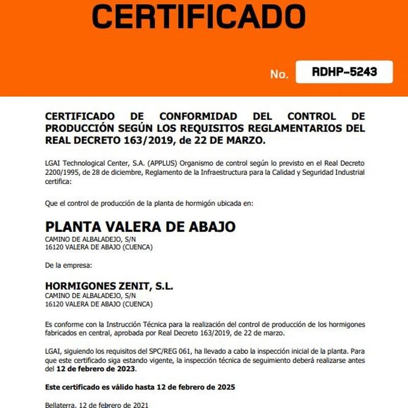 Certificados a nivel europeo: Catálogo de HORMIGONES ZENIT, S.L.