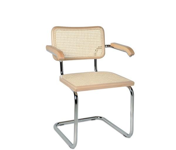 silla cesca con brazos en acabado haya natural