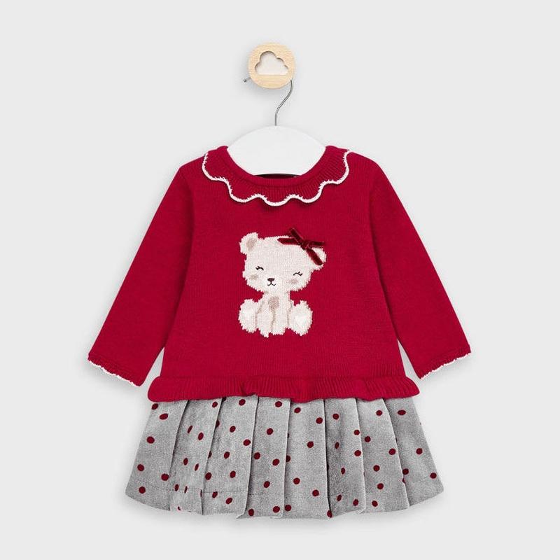 Vestido tricot falda lunares