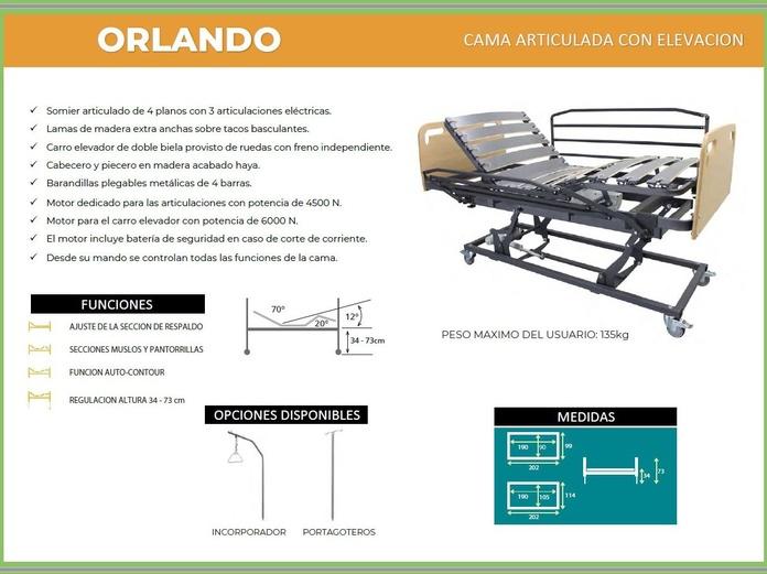 Cama con carro elevador articulada Orlando: TIENDA ONLINE de Ortopedia La Fama