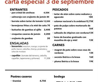 Menú Domingo de Ramos: Carta y Menús de Restaurante Bonavista