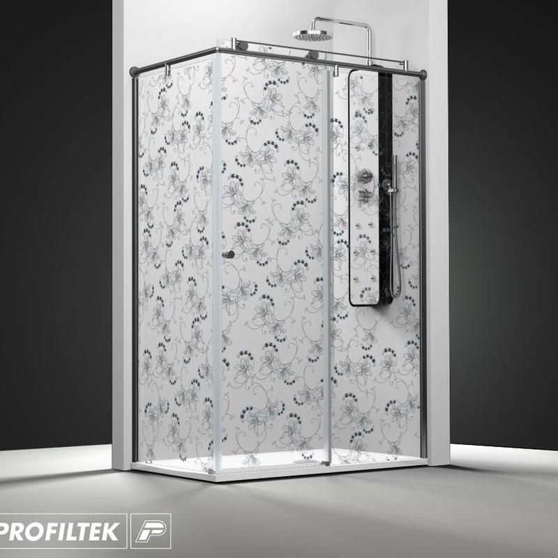 Mampara de baño Profiltek serie Steel modelo ST-201 Light decoración classic
