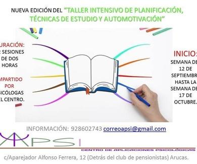 NUEVA EDICIÓN EN SEPTIEMBRE TALLER INTENSIVO DE PLANIFICACIÓN, TÉCNICAS DE ESTUDIO Y AUTOMOTIVACIÓN.