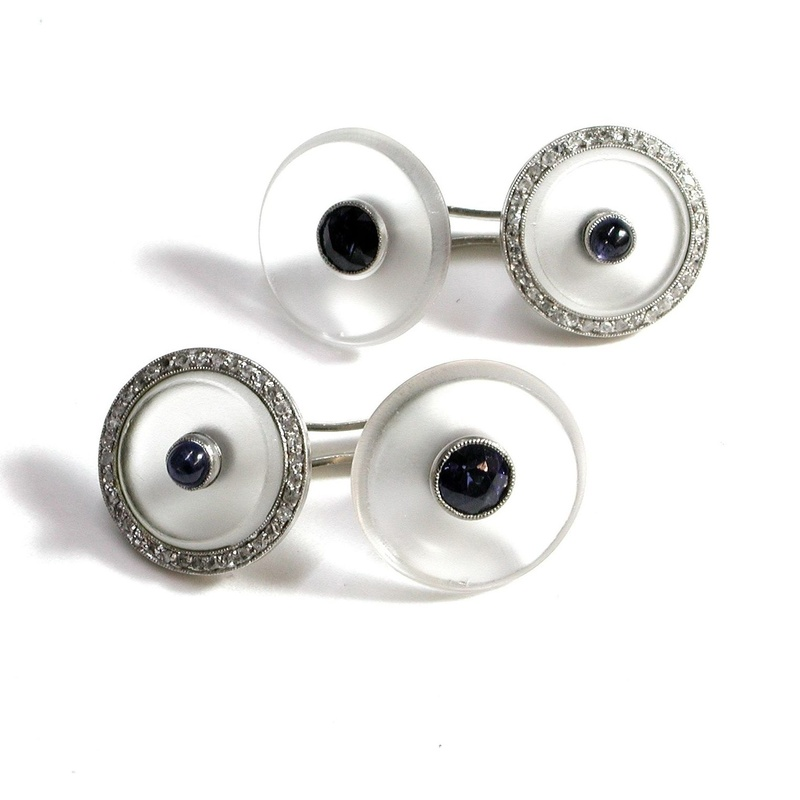 Gemelos ArT Decó de platino con nácar, cabujones de zafiros. 20-30: Catálogo de Antigua Joyeros