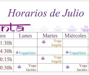 Horario del mes de Julio