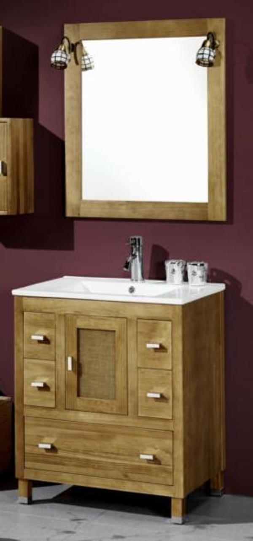 Mueble Loira nogal de 70 con lavabo loza, espejo y dos focos