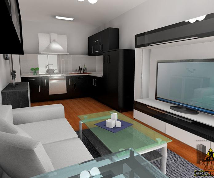 Presentación 3D de salón con cocina americana