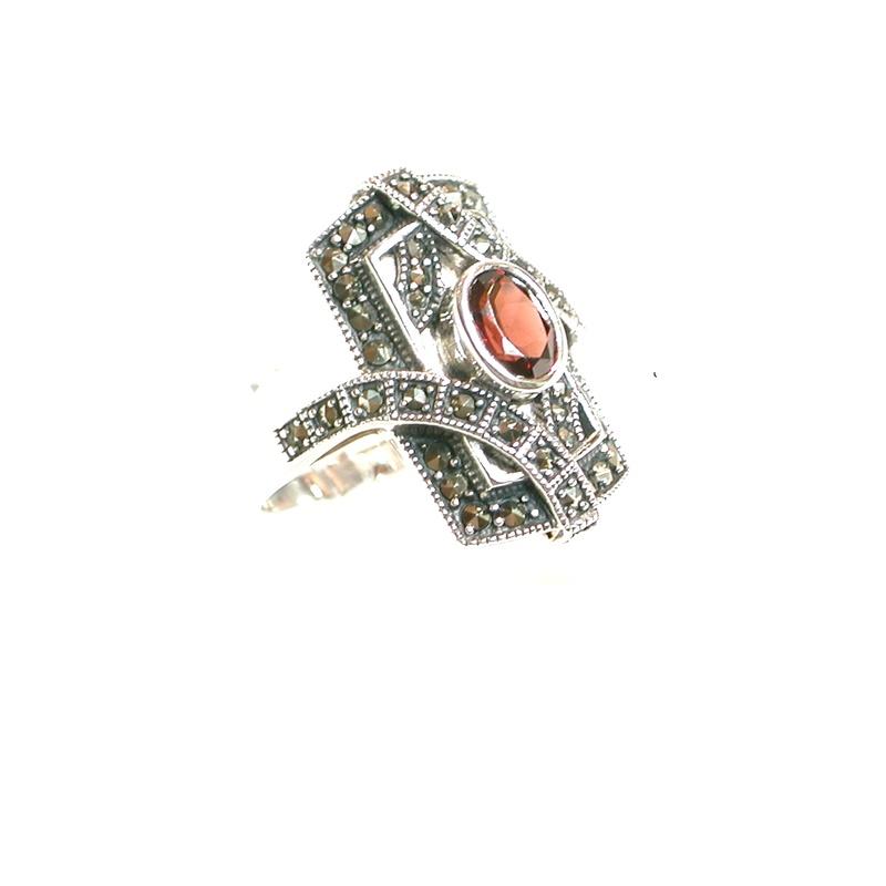 Sortija de Plata de 1ª Ley con Granate. Ref.: MS-8963/09: Catálogo de Antigua Joyeros