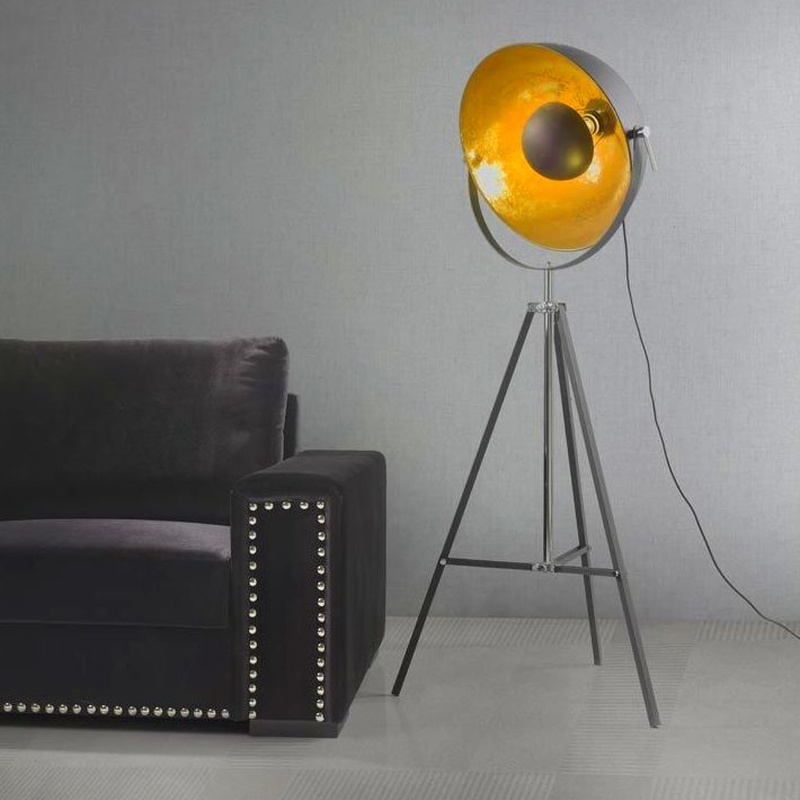 Pie de salón trípode modelo 12032 negro/oro