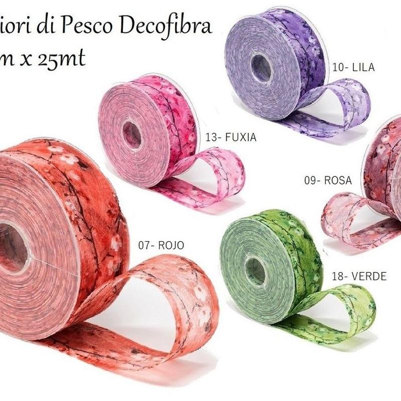 CINTA FIORI DI PESCO Decofibra (40mmx25mt)/ COLORES:.07-ROJO, 09-ROSA, 10-LILA, 13-FUXIA, 18-VERDE REF: 796+(COLOR) PRECIO: 4,25€
