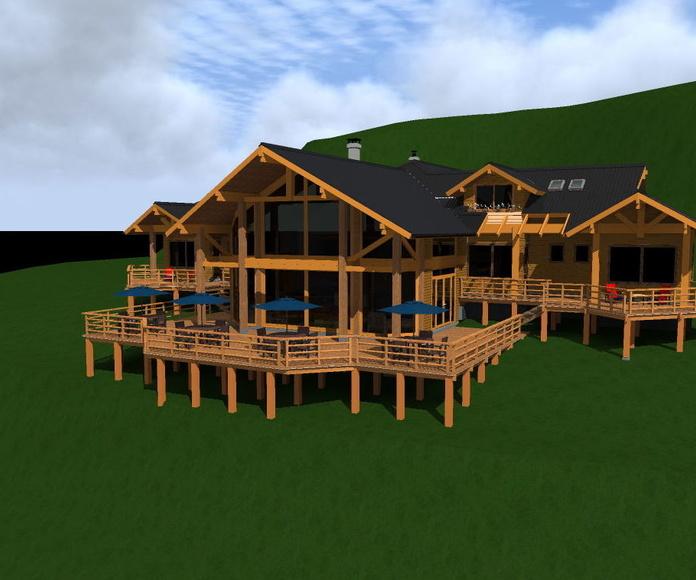 Imagen 3d Hotel Rural  de madera construido por CORTELIMA en Chaitén