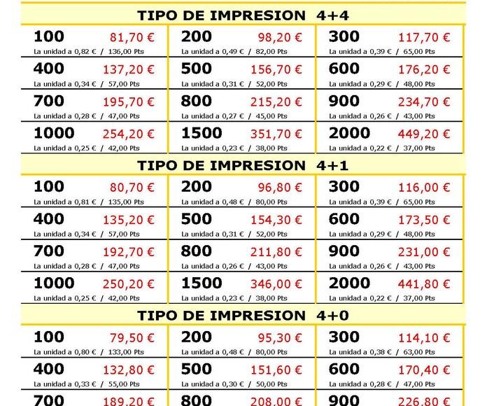 Calendarios Lotería plastificados: Productos y Servicios de Imprenta Llorens